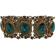 Antique Austro - Hungarian Renaissance Revival Green And Purple Paste Bracelet With Seed Pearl