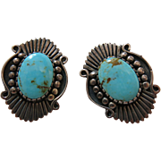 Vintage Signed Navajo Sterling Silver And Turquoise Post Earrings
