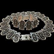 Vintage Sterling Silver Egyptian Necklace And Bracelet Suite