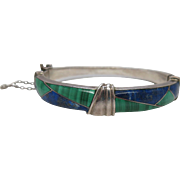 Vintage 970 Silver Bracelet With Lapis And Malachite Inlay