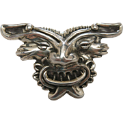 Extraordinary 1940's Vintage 4-Inch Mexican Sterling Silver Mask Brooch