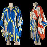 Vintage Circa 1930 Reversible, Figural Silk Damask Japanese Haori Kimono Jacket