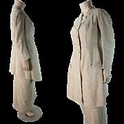 Antique Edwardian 2-Piece Natural Linen Sidesaddle Riding Habit
