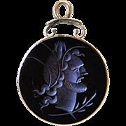 Antique Victorian 10K Rose Gold Carved Carnelain Intaglio Watch Fob / Pendant
