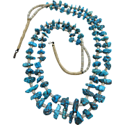 Vintage Santo Domingo Squaw Wrap Shell And Turquoise Heishi Necklace Two Strands - 30-Inches Long