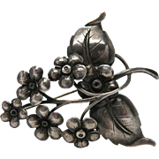 1940's Vintage Sterling Silver Flower Pin / Brooch Marked Bauring