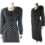 "1980's Vintage Christian Dior ""The Suit"" Label Polka-Dot Linen Suit With Peplum Jacket"