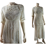 SOLD Antique Edwardian Embroidered Tea Dress With Irish Crochet Lace