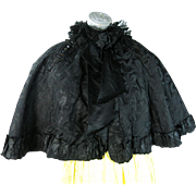 Antique Victorian Beaded Black Silk Damask Cape With Lace