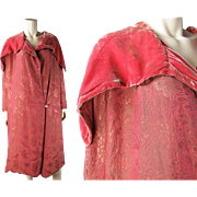 Sumptuous 1920's French Pink Silk Lame And Silk Velvet Evening Coat In A Larger Size