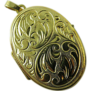 Vintage 14K Yellow Gold Locket And Bail Beautifully Engraved