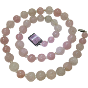 Vintage 1920's Chinese Art Deco Carved Rock Crystal And Rose Quartz Necklace With Wonderful Clasp