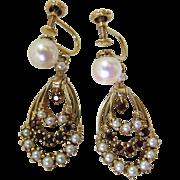 Elegant Vintage 14K Gold, Bohemian Garnet And Cultured Pearl Dangle Earrings With Screw-Back .