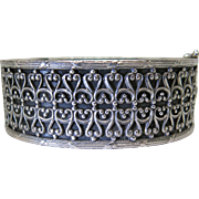 Antique Heavy Solid 835 Silver Hinged Bracelet With Filigree Overlay