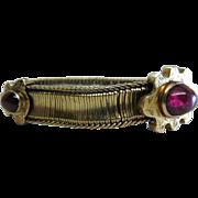 Antique Victorian 18K Gold And Tourmaline Slide Bracelet