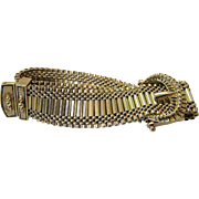 Antique Victorian Enameled 14K Yellow Gold Mesh Buckle / Garter Slide Bracelet Up To 9 Inches