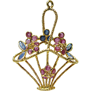 Wonderful Vintage 18K Gold Ruby And Sapphire Flower Basket Pendant / Charm