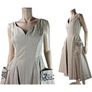 1950's Vintage Beaded And Rhinestone Encrusted Sleeveless Evening Dress