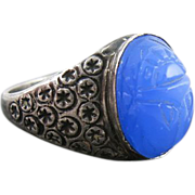 Vintage Circa 1920 Sterling Silver Blue Chalcedony Glass Scarab Ring