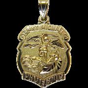 Vintage 14K Yellow Gold Saint Michael Medal Pendant / Charm 4.6 Grams