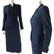 1950's Vintage Henri Bendel Navy Blue Wool Skirt Suit