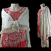 Vintage Circa 1920 Hand Embroidered Ivory Silk Canton Shawl