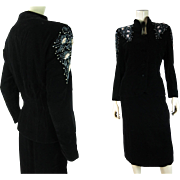 1940's Retro Vintage Beaded Two-Piece Black Velvet Dress And Peplum Jacket