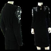 1940's Retro Vintage Beaded Two-Piece Black Velvet Dress And Peplum Jacket