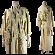 Vintage Circa 1930 Hand Embroidered Natural Silk Dragon Robe