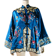 Vintage 1930's Embroidered Chinese Silk Robe With Exceptional Sleeve Bands