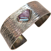 Stylish Mid-Century Modernist Hammered Sterling Silver And Amethyst Cuff Bracelet