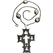 Antique Rococo Period Swiss Silver Cross Pendant Necklace With 19th Century French Import Mark