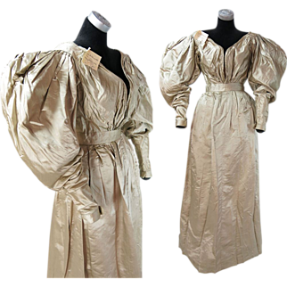 Rare Antique Dated 1831 Georgian Regency Champagne Silk Gigot Sleeve Wedding Dress With Provenance
