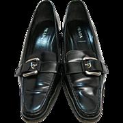 Vintage Prada Black Leather Buckle Shoes Size 9 U.S. / 39 1/2 EU