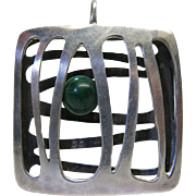 Vintage Mid-Century Modernist Sterling Silver And Malachite Pendant