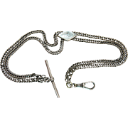 Antique Victorian Sterling Silver Watch Chain / Necklace With Slide, T-Bar And Swivel Clip