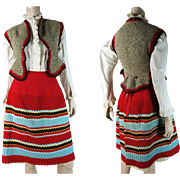 Rare Antique Victorian Knitwear / Knit Petticoat Suite With Vest