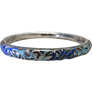Antique Chinese Enameled Silver Bangle Bracelet - Signed