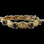 Vintage 14K Gold And Natural Siberian Amethyst Bracelet - 21.2 Grams With 9.6 carats ...