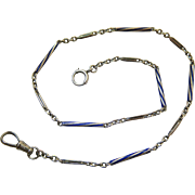 Art Deco Period 14K White Gold Watch Chain With Blue Spiral Enameling