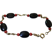 Vintage 14K Gold, Red And Black Coral Bracelet - 8-Inches Wearable Length