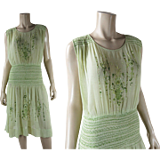 1920's Vintage Hand Embroidered And Smocked Green Cotton Gauze Peasant Dress
