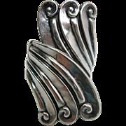 Vintage Alfredo Villasana Mexican Sterling Silver Repousse Hinged Bracelet