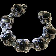 Vintage Los Ballesteros Mexican Silver And Obsidian Bracelet