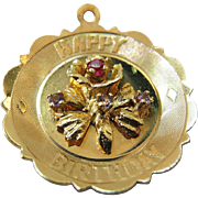 Large 1960's Vintage Jeweled 14K Yellow Gold Happy Birthday Charm / Pendant With Crown Mark