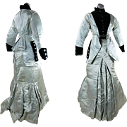 Antique Victorian Silvery Blue Silk And Velvet Two-Piece Hobble Skirt Bustle Dress In Larger .