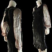 SOLD 1930's Vintage Silk Velvet And Lamé Bias Cut Cocktail Dress