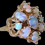 Vintage 14K Gold Natural 1.5 Carat Opal Cluster Cocktail Ring