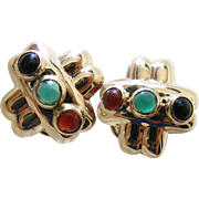 Stylish 14K Gold Estate Earrings With Mixed Gemstone Cabochons And Omega Clips