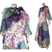 Joyful 1970's Vintage Printed Organdy Dress With Matching Shawl